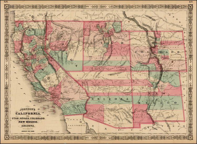 Johnson\'s California, with Territories of Utah, Nevada, Colorado ...