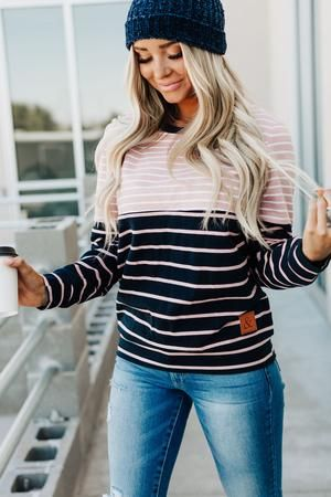 Accent Pullover - Pink & Blue Stripe – Mindy Mae's Market