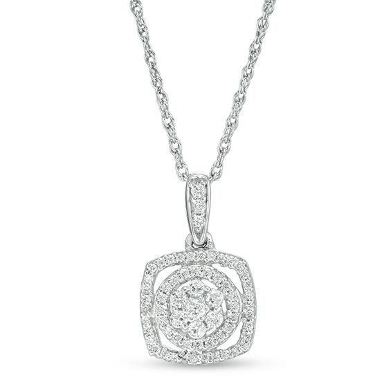 Zales 1/4 CT. T.w. Composite Diamond Frame Pendant in Sterling Silver