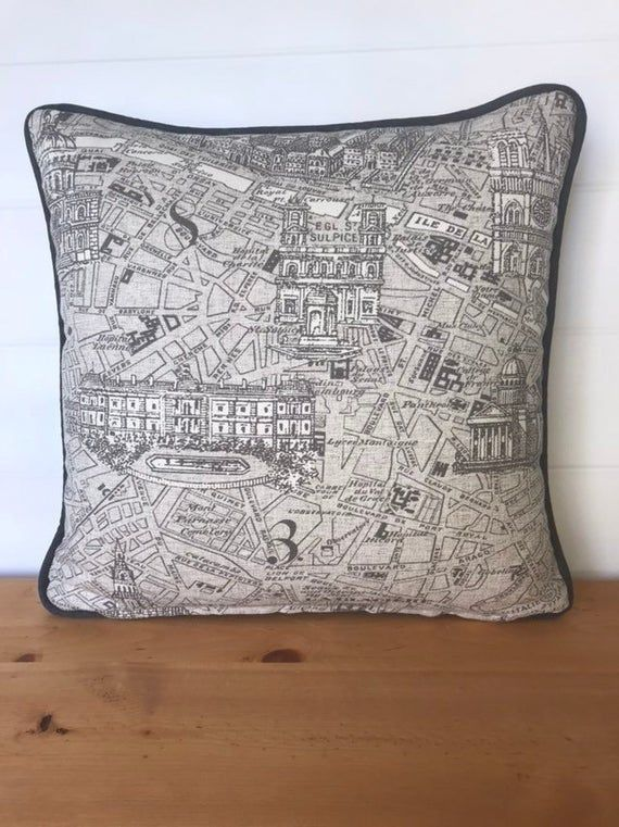 Paris Map Fabric Throw Pillow French Country Accent Pillow Cover Country French Decor Neut Paris Map Fabric Throw Pillow French Country Accent Pillow Cover Country French...