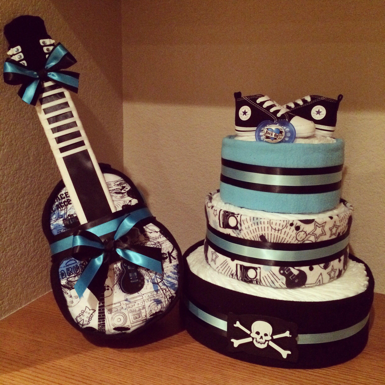 Custom designed rock star theme diaper cakes baby