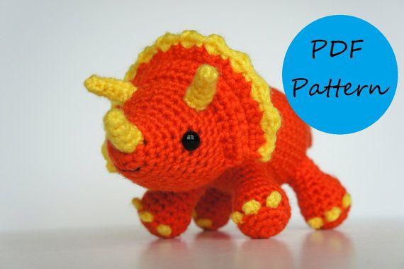 Dinosaurios Amigurumis Patrones Gratis : Pdf crochet amigurumi pattern triceratops dinosaur muñecos de