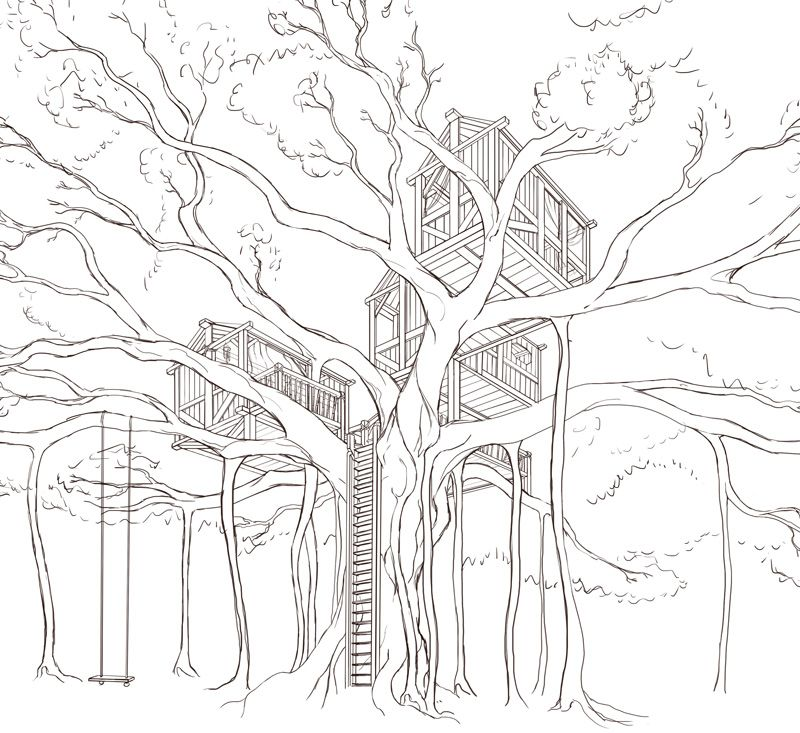 how to draw a simple treehouse