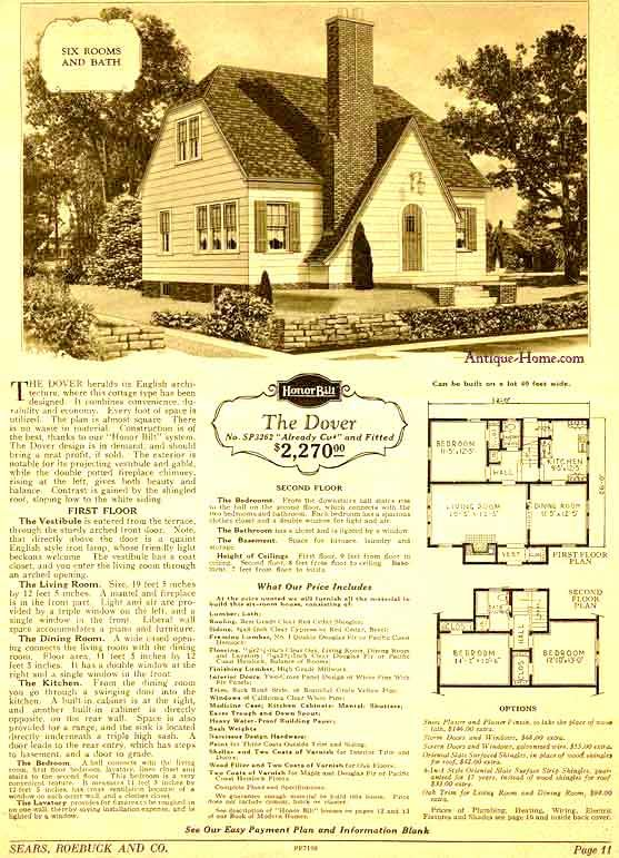 Dover Model 1928 Sears Catalog English Cottage elements
