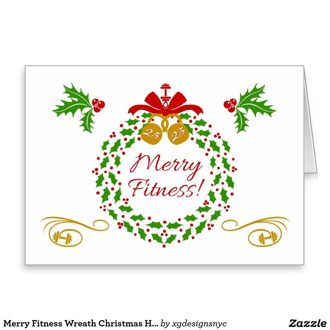 Merry Fitness Wreath Christmas Holiday Card Merry Fitness