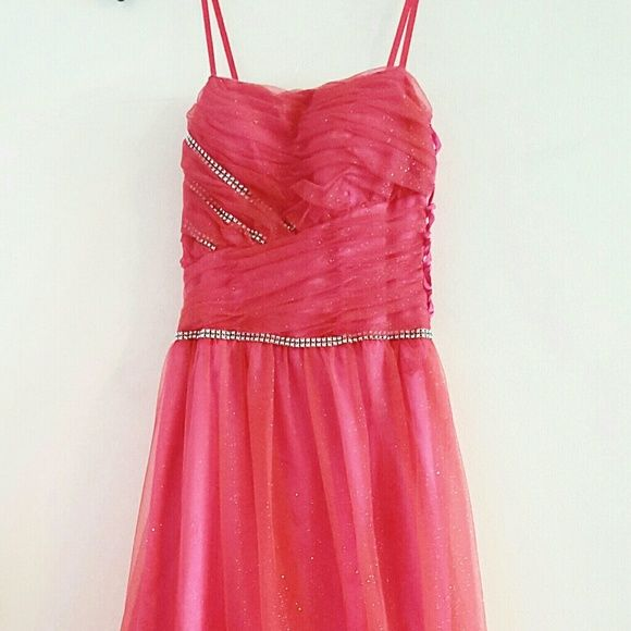 Pink/orange ombre gown Never worn.  Hand added rhinestones and jewels.  MXI brand.  Sides are adjustable and can fit multiple sizes.  Floor length. MXI Dresses
