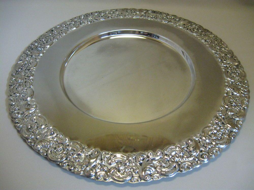 Silver Plate Godinger Silver Art Co Serving Tray Leaf Flower Rim 14 Wide