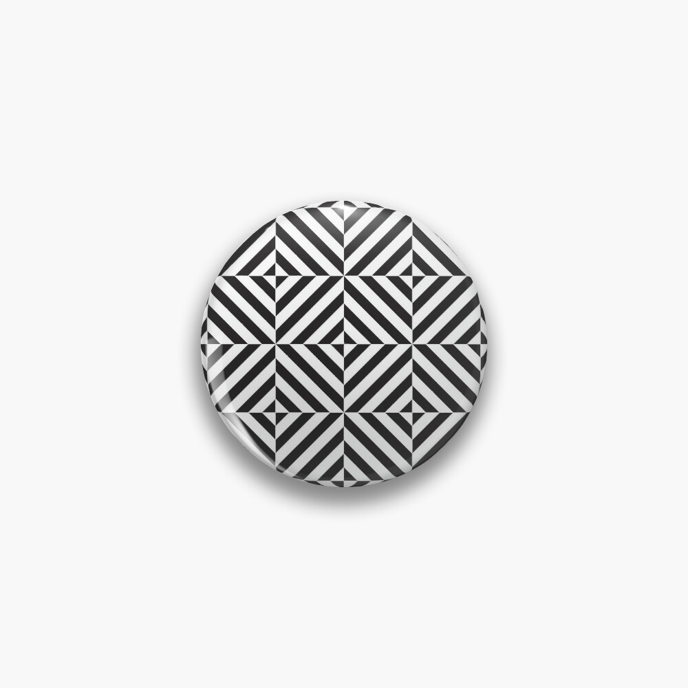 Black And White Diamond Optical Illusion Pattern Pin Button By Kallyfactory Optical Illusions Illusions White Diamond