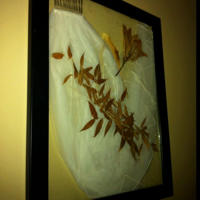 What to do with your wedding veil/ flowers? Preserve them in a double glass frame!