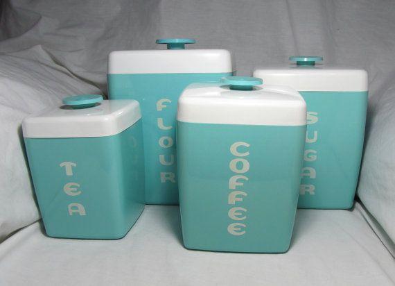 1950\'s Vintage Retro Mid Century Modern Set Of 4 Turquoise (Aqua ...