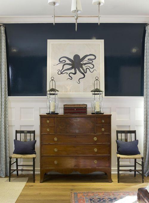 B.E. Interiors. glossy walls, wainscot panels, navy, walnut stain