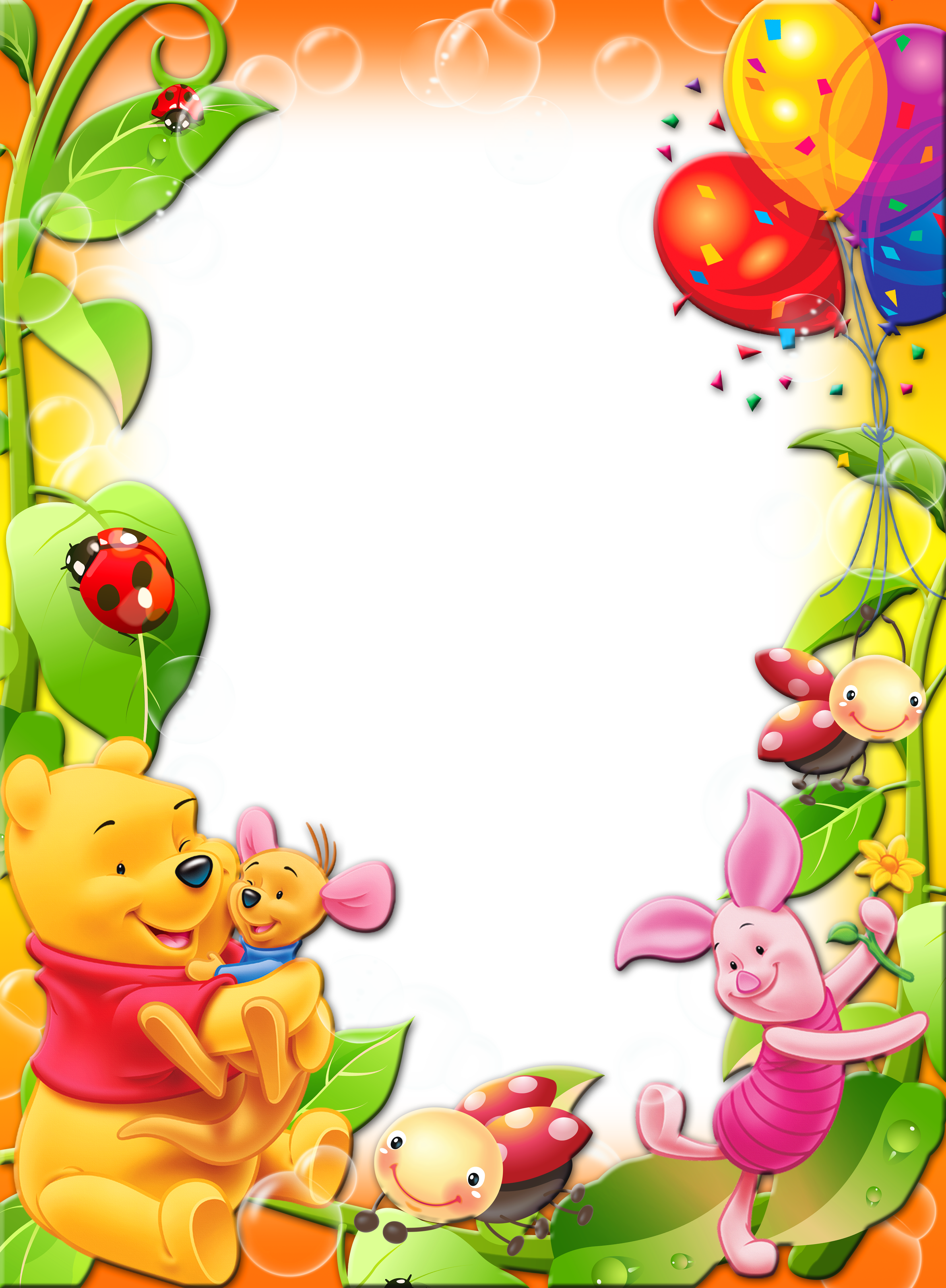 Winnie The Pooh With Balloons Kids Transparent PNG Photo Frame