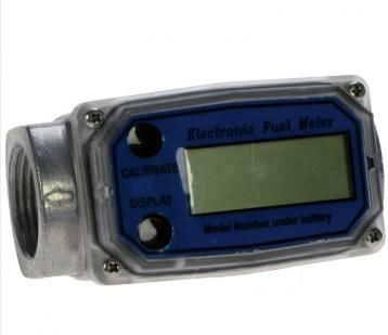"1"" Digital Diesel Flow Meter  Electronic flow meter. 1"" BSPF ports, 20-180L/min.  - Only suitable with diesel or biodiesel up to B30. - Display & totaliser shows up to 9999.9 litres. - 20 – 180L/min. 1"" BSPF ports. Max. pressure 45 psi (3 bar). - Accuracy +/- 2.5%. Aluminium housing. - Designed to fit inline with delivery hose or pipework. - Operating temp -10°C to 60°C."