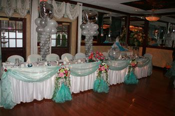 quinceanera balloon decor head table decoration for quince A