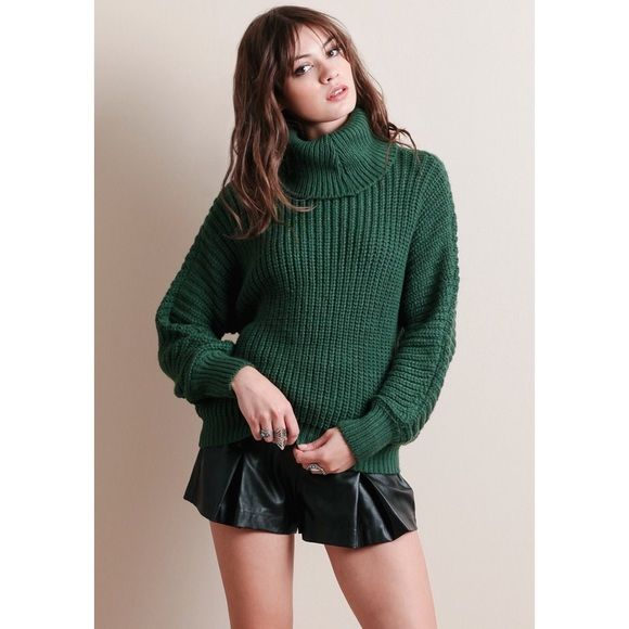 ❗️LAST ONE❗️Emerald Green Knit Turtleneck Sweater | Cable ...