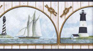 Sailboats Lighthouses In Rope Frames Nautical Wallpaper Border Nm6747b Black Nautical Wallpaper Border Wallpaper Border Wallpaper