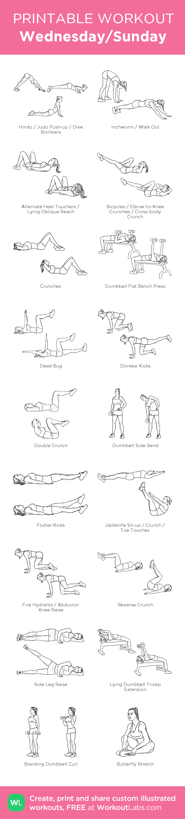 Wednesday/Sunday: my visual workout created at WorkoutLabs.com • Click through to customize and download as a FREE PDF! #customworkout