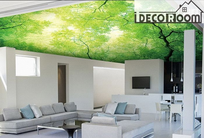 Green Tree Ceiling Wall Paper Wall Print Decal Wall Deco Indoor Wall Mural Wallpaper Wall Deco Home Design Ceiling wallpaper ideas uk