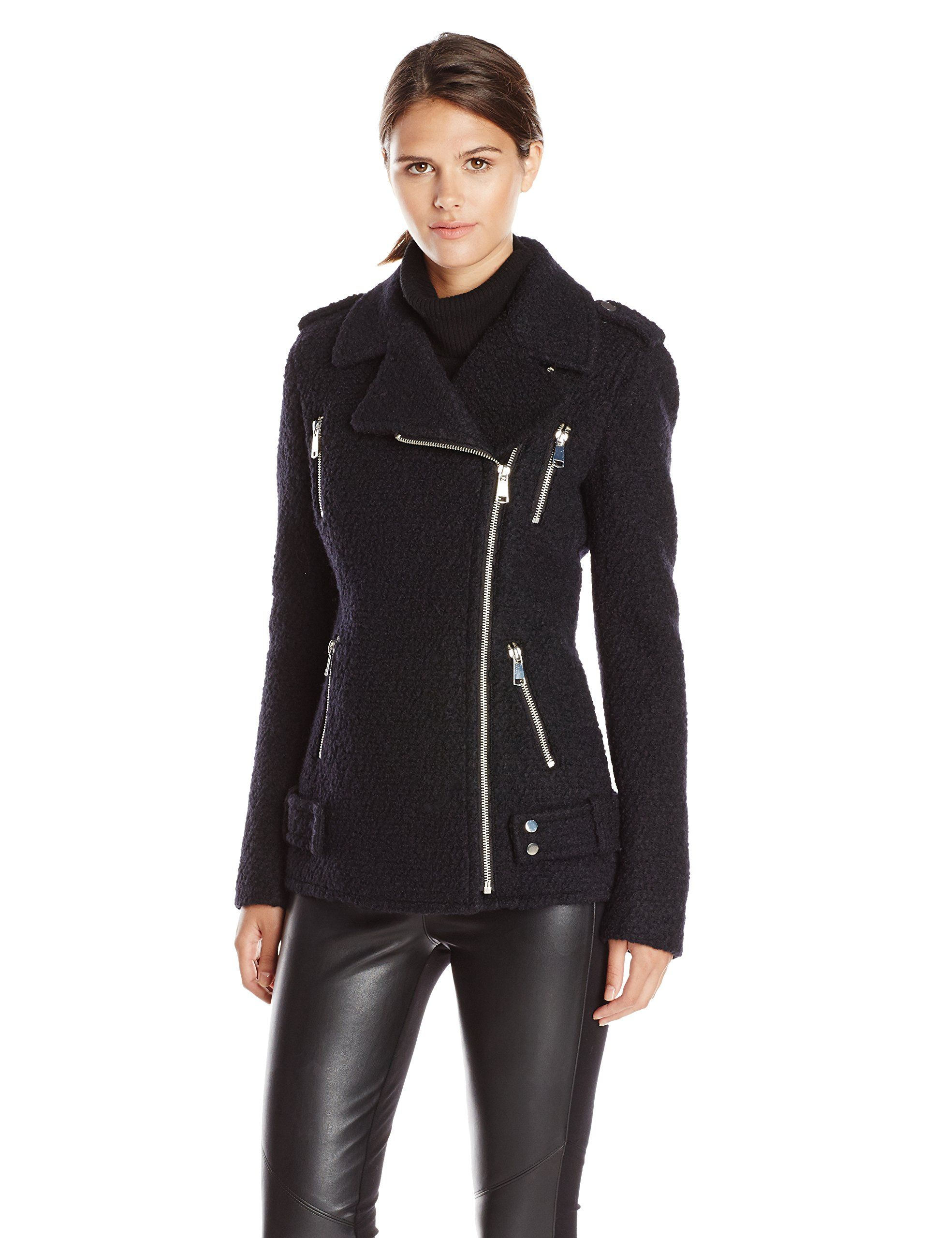 French Connection Women's Wool Boucle Moto Jacket, Black, 2 - long ...