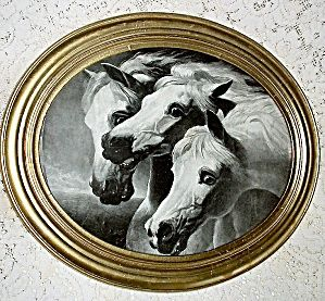 Pharaohs Horses Antique Print,Oval Gesso Wood Frame