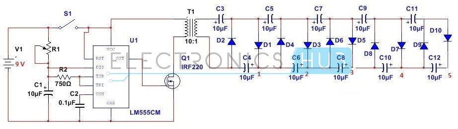 how to design stun gun circuit using 555 timer ic electronics rh pinterest com