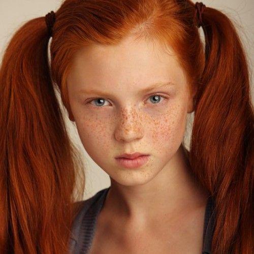 ginger redhair freckles blue eyes