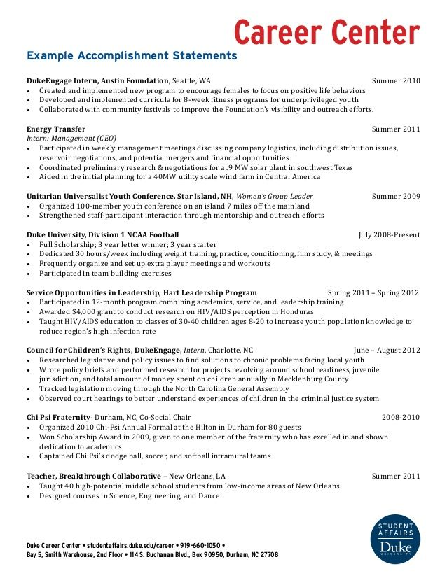 Example Accomplishment Statements Career Advice 2 Pinterest - m w resume