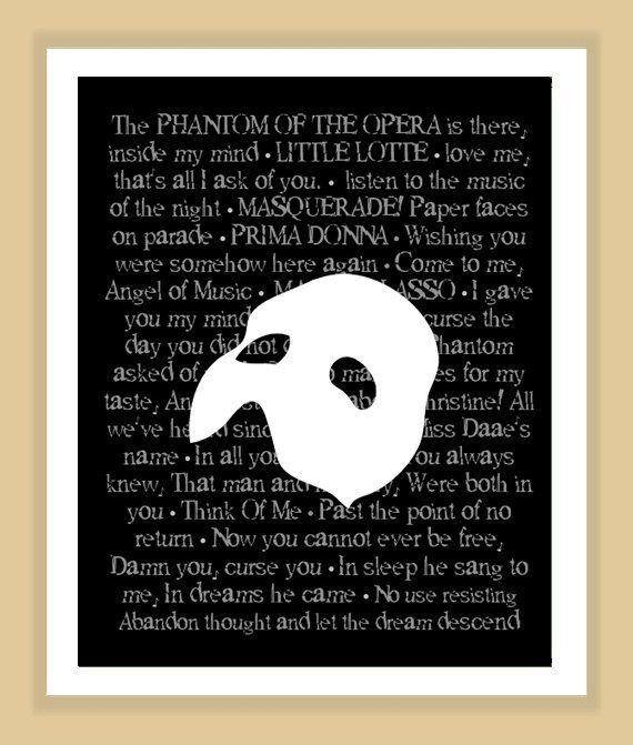 Phantom of the Opera Quotes | Phantom of the Opera Musical Quotes Print