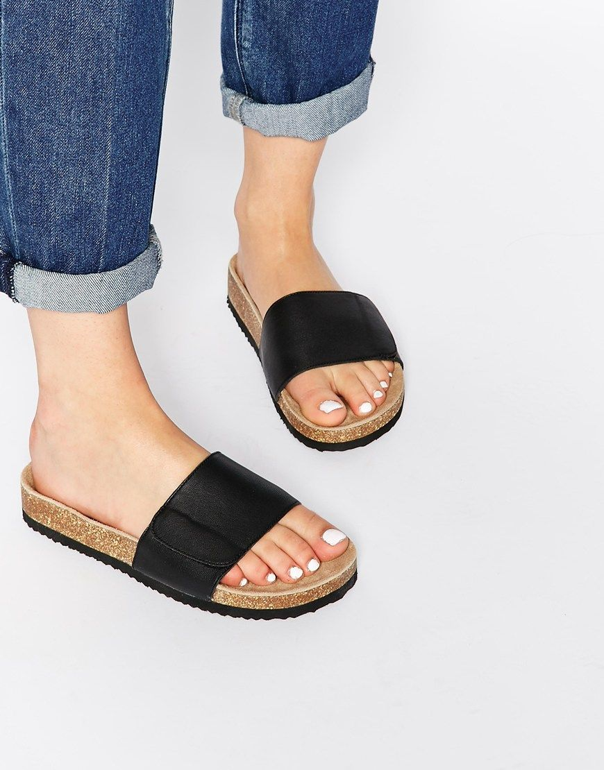 71f9c4a67 Selected Lenna Black Leather Slide Flat Sandals