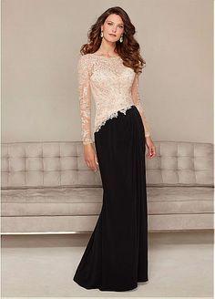 Elegant Chiffon Long sleeves Bateau Neckline Floor-length Mother of the Bride Dresses
