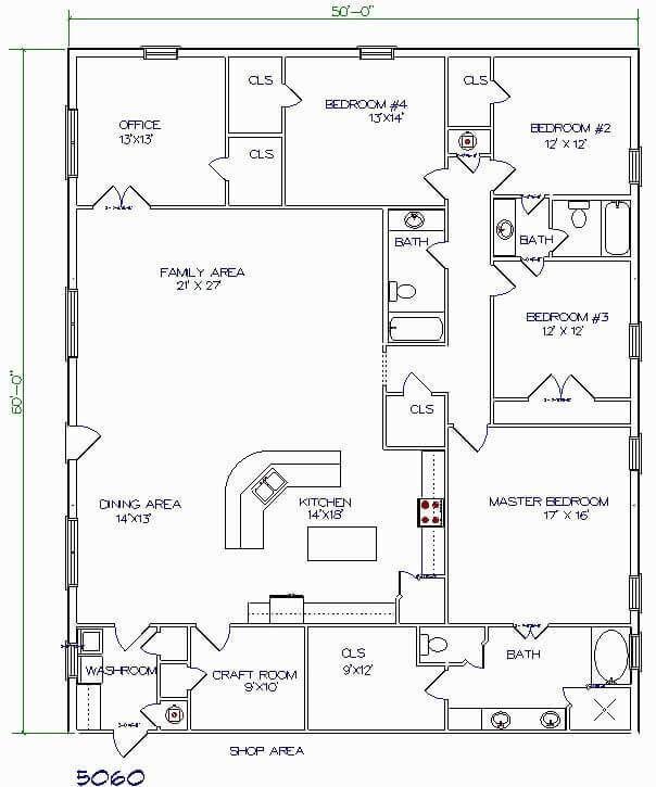 Barndominium Floor Plans 4 4 Bedrooms One Office One Craft Room Barndominium Floor Plans Pole Barn House Plans Floor Plans 2 Story