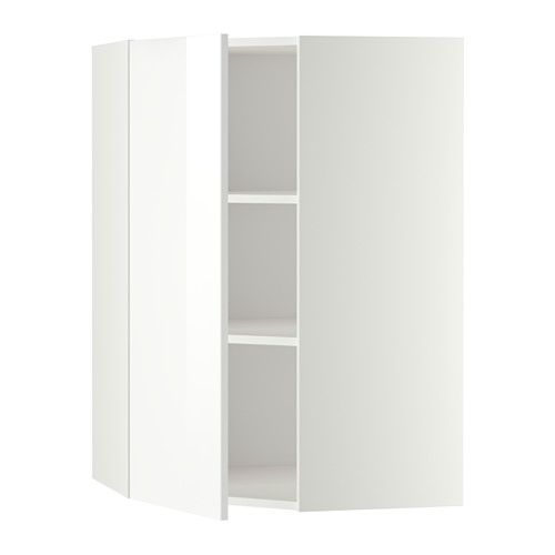 Metod White Ringhult White Corner Wall Cabinet With Shelves 68x100 Cm Ikea Wall Cabinet Corner Wall Shelves