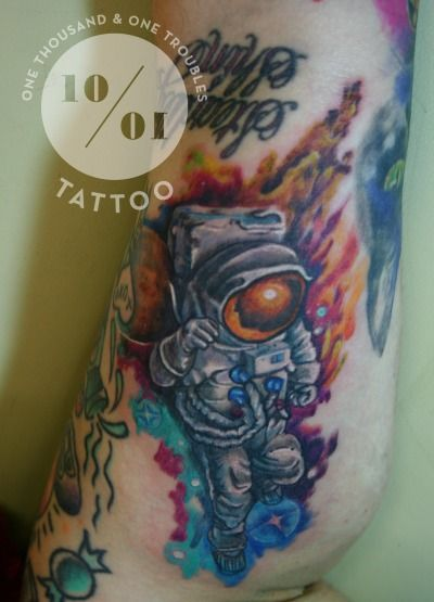 bb45721d90825 astronaut tattoo with brilliabt colour outer space background, done at 1001  Troubles Tattoo Studio, in Warren, RI by owner Michelle Carter