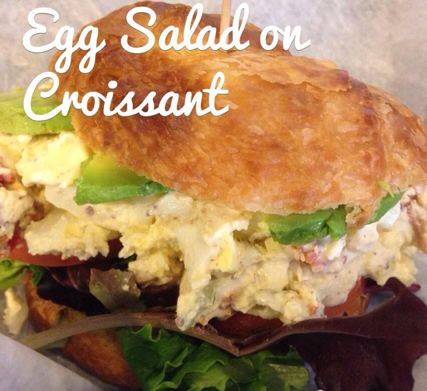 The District's own house-made egg salad, served with lettuce, tomato, and avocado on fresh baked croissant