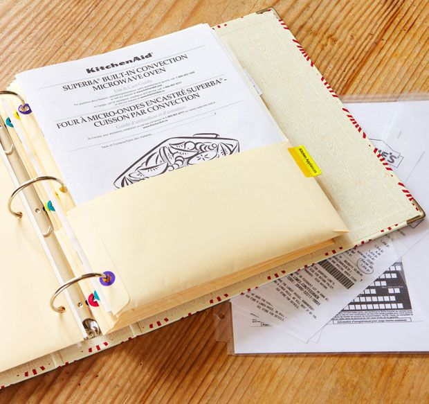 keep all your owner's manuals and warranties together in a binder