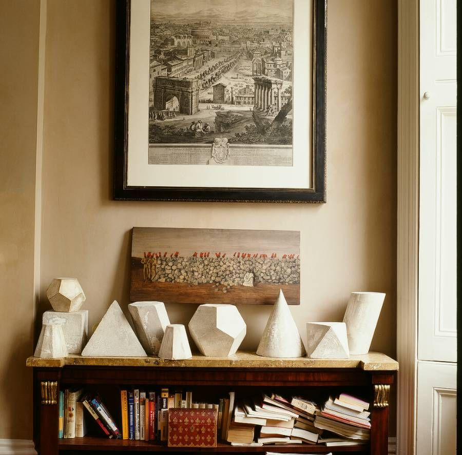 A Set Of Fourteen Geometric Plaster Shapes In Sculpture
