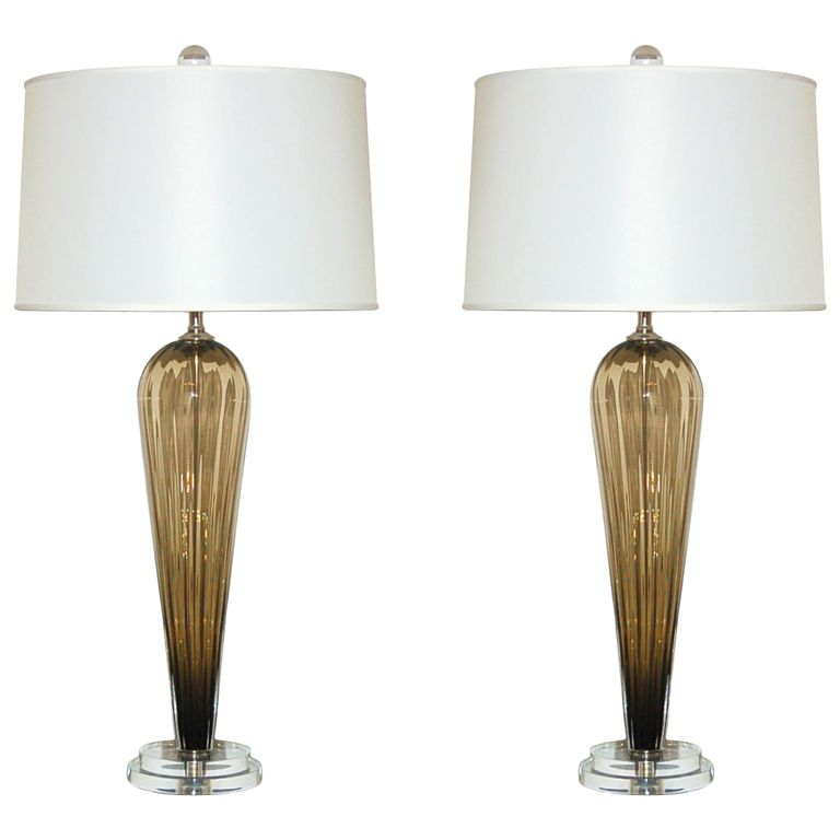 Handblown Pair of Bronze Glass Lamps by Joe Cariati | From a unique collection of antique and modern table lamps at https://www.1stdibs.com/furniture/lighting/table-lamps/