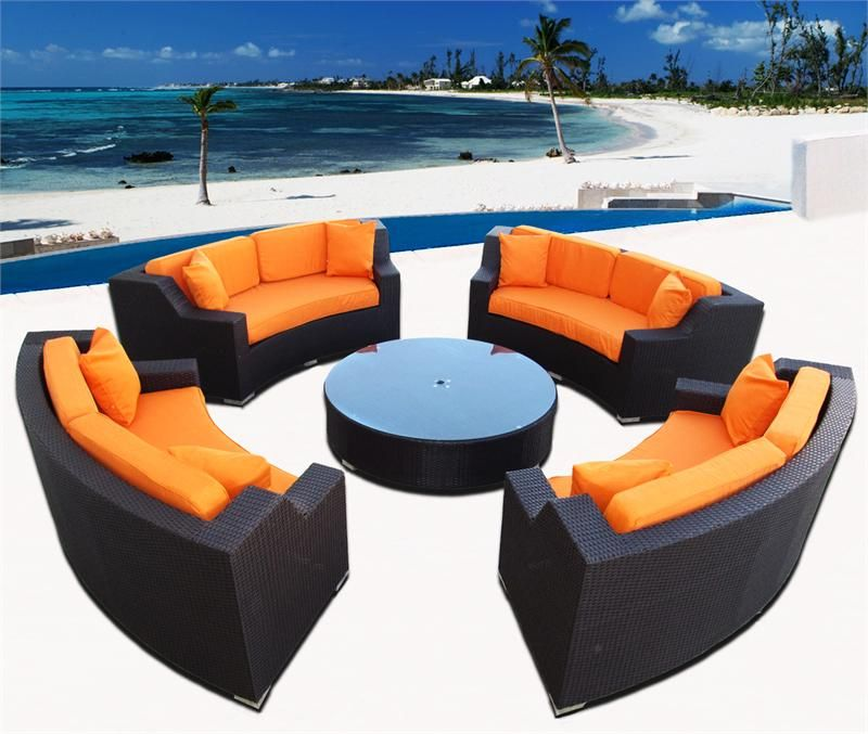 *MODERN SAVANNAH ROUND WICKER SECTIONAL SOFA OUTDOOR PATIO FURNITURE PLUS  BONUS! CHOOSE COLORS!