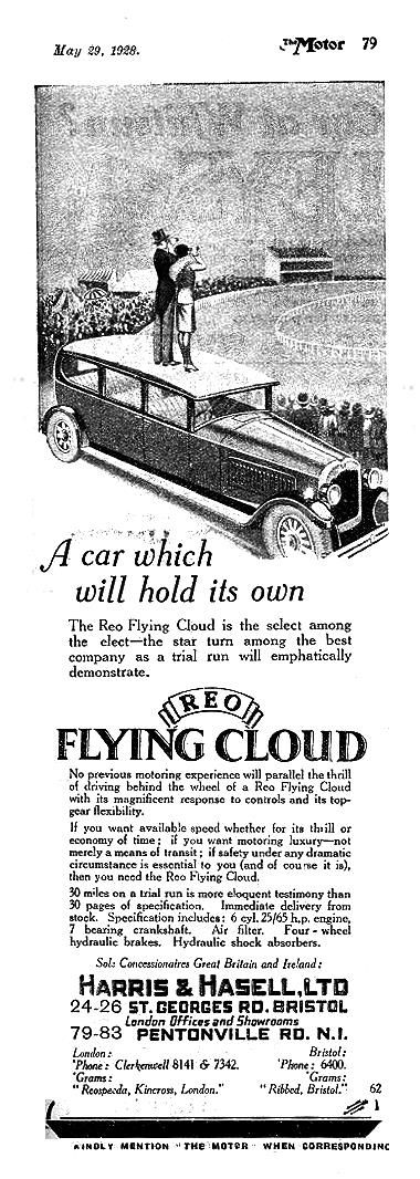 Reo Flying Cloud Motor Car Autocar Advert 1928