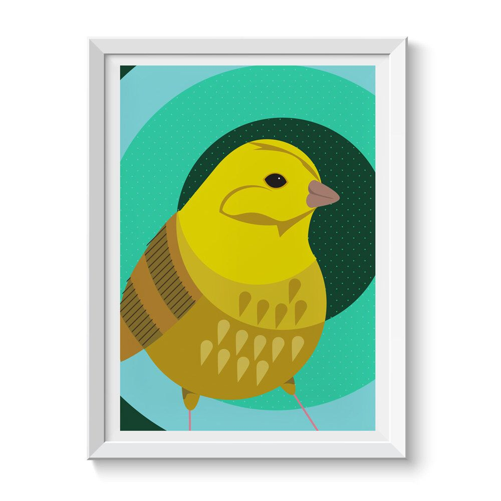 British Bird Yellowhammer Illustration Giclée Print Wall Art Retro ...