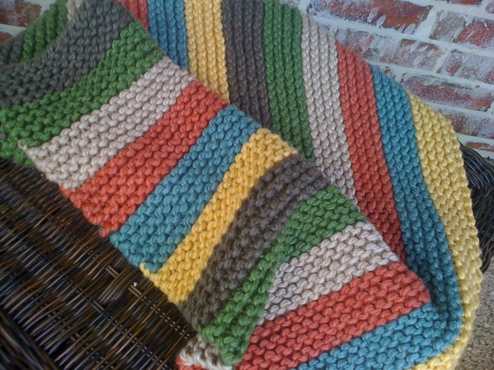 Striped Blanket Blanket knitting patterns, Easy knit
