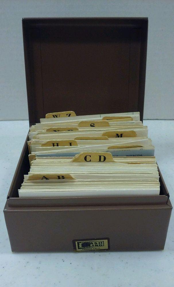 Vintage Metal Box File Card Holder Mid Century Industrial Decor Brown Flash File