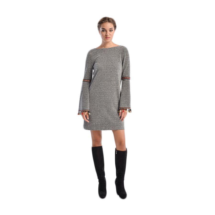3228c78504dd VENER Γκρι μακρυμάνικο μάλλινο φόρεμα