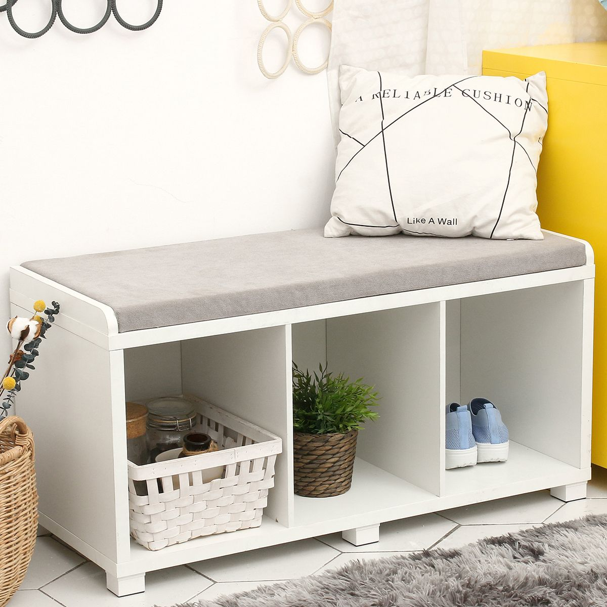 3 cubby cushion storage bench shoes cabinet organizer