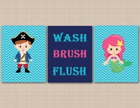 Pirates Mermaid Bathroom Wall Art,Brother Sister Bathroom,Boy Girl Bathroom Wall Art,Pirates Bathroo #mermaidbathroomdecor