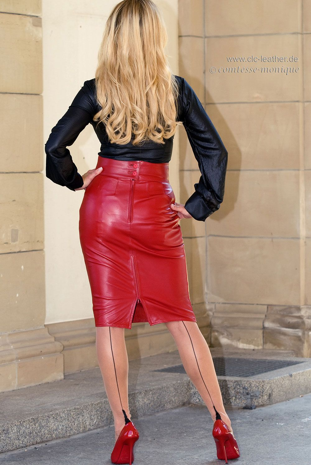 b3ba2d74f Garter Bumps Under Tight Red Laether Pencil Skirt Black Blouse Sheer Back  Seam Stockings and Red Stiletto High Heels