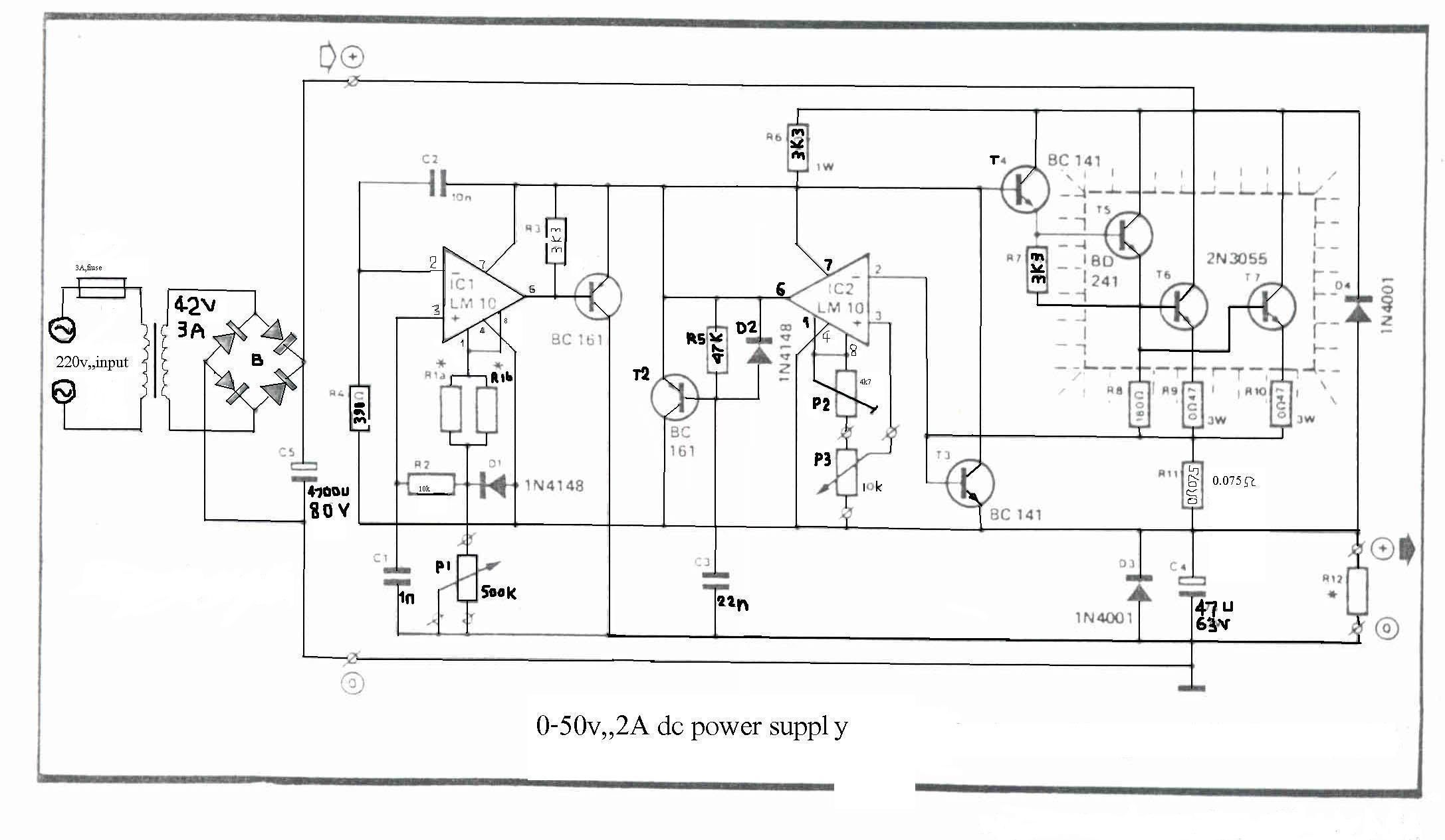 0 50v 2a Bench Power Supply Electronics Lab Power Supply Circuit Power Supply Circuit Diagram