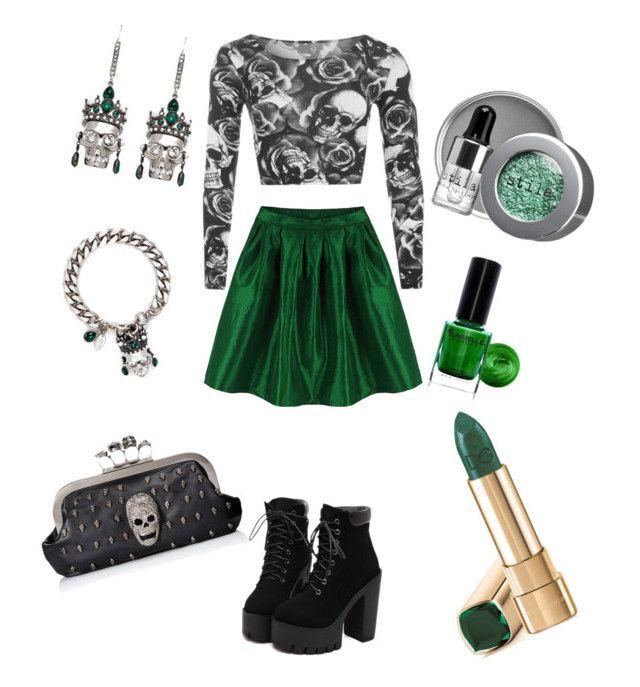"""Emerald Skulls"" by sammiesixx13 on Polyvore featuring BARIELLE, Alexander McQueen, Stila, women's clothing, women, female, woman, misses and juniors"