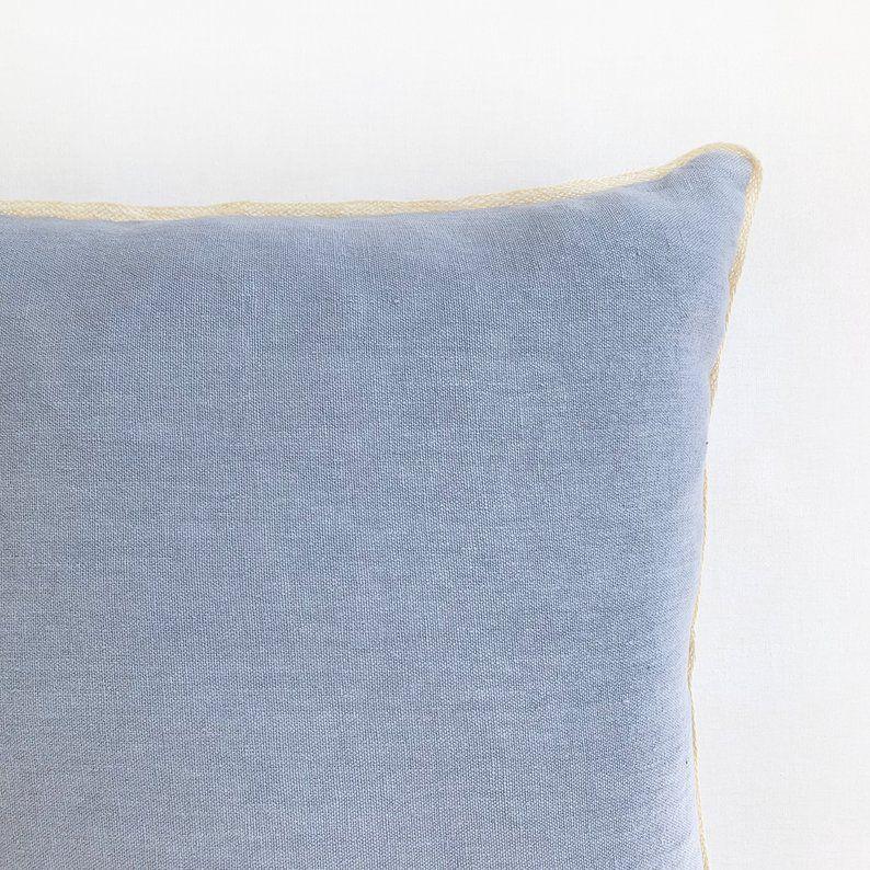 high quality italian linen pillow blue