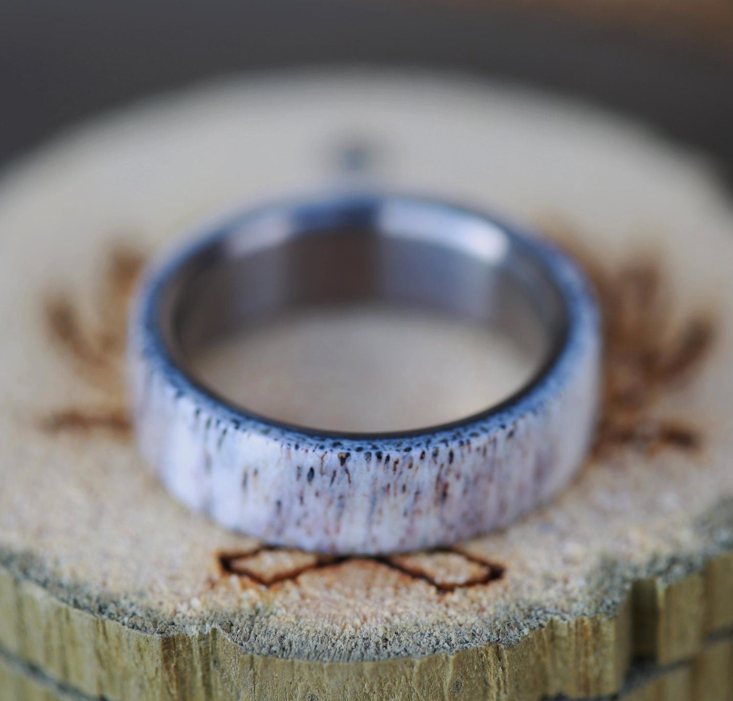 engagement wedding flat ivory mens camo elegant ring antler band one rings idea deer elk of by titanium beautiful
